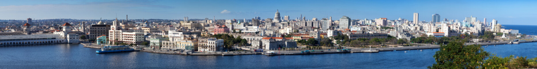 Havana.View of old city through bay . Panorama