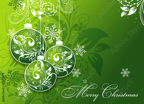 Christmas card with an ornament, vector
