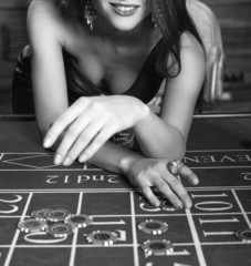 Young sexy girl in casino