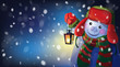 Vector snowman holding Christmas lantern on snowfall background.
