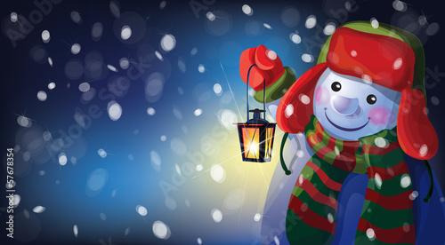 Vector snowman holding Christmas lantern on snowfall background.