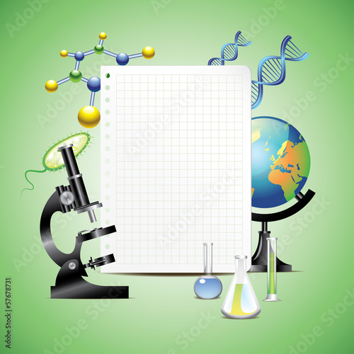 Scientific items with blank paper