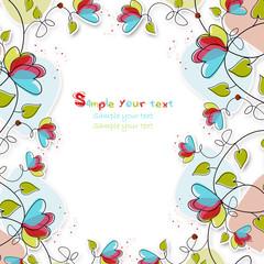 schöner Hintergrund mit Blumen und Marienkäfern