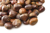 Delicious group of chestnuts close up background