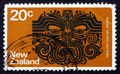 Postage stamp New Zealand 1971 Maori Tattoo Pattern