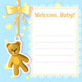 Baby greetings card with teddy bear, EPS10