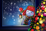 Vector snowman holding Christmas lantern and looking through win