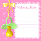 Baby greetings card with pacifier, EPS10