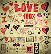 Love doodle retro set, design elements