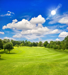 golf course and blue sunny sky. green field landscape