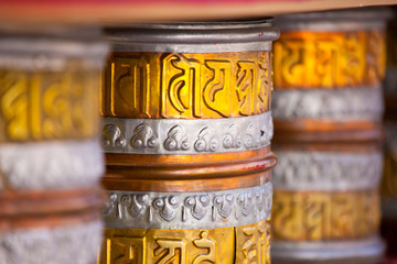 Buddhist prayer wheels in Tibetan monastery.India,Ladakh