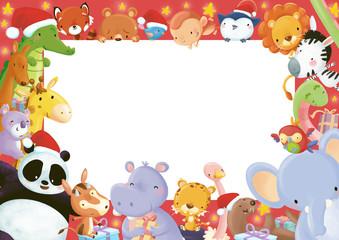 marco animales navidad
