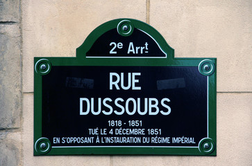 Plaque de la rue Dussoubs à Paris