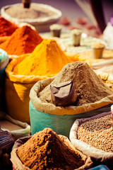 Traditional spices and dry fruits in local bazaar in India. © Curioso Photography