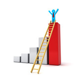 Business man on top of growth graph with ladder on white