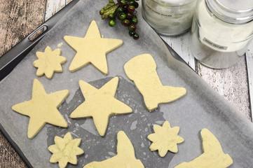 Baking homemade Christmas shortbread cookies