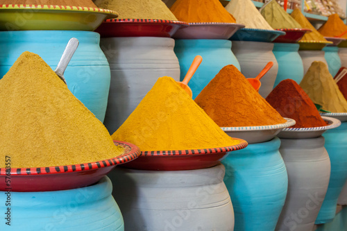 Foto op Canvas Marokko Spices at the market Marrakech, Morocco