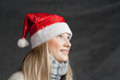 attractive blonde female santa, christmas season, studio shoot