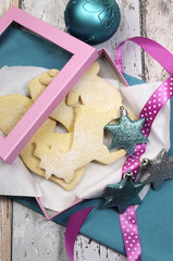 Homemade Christmas shortbread cookies gift