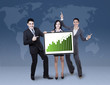 Business colleagues holding growth graph