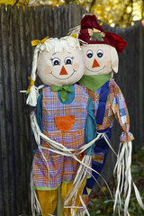 Two scarecrows in the garden