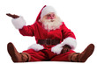 Hilarious and funny Santa Claus showing presenting gesture while