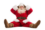 Hilarious and funny Santa Claus confused while sitting