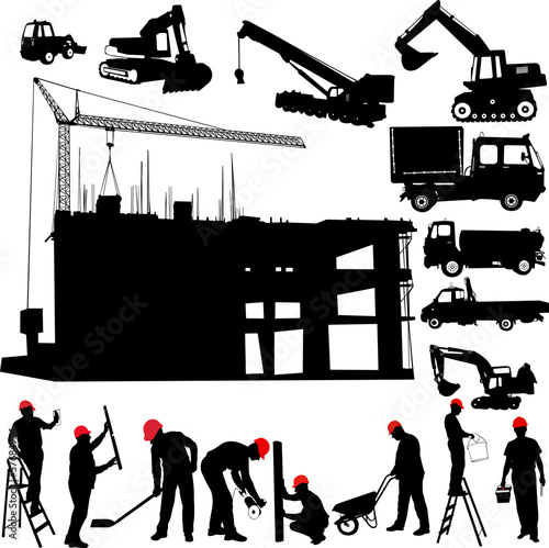 construction objects vector crane  worker  building