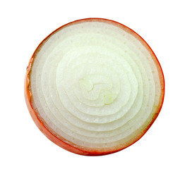 sliced onion on white background