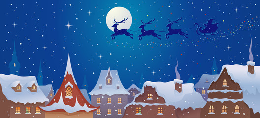 Santa sleigh above town