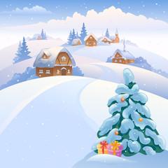 Winter village on the hills