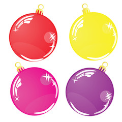 Color Christmas balls on white background
