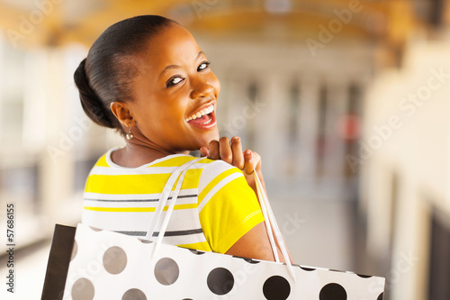 african young lady shopping in mall