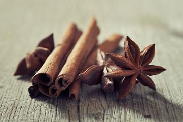 Cinnamon sticks with anis stars