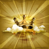 Gold crown, old style background