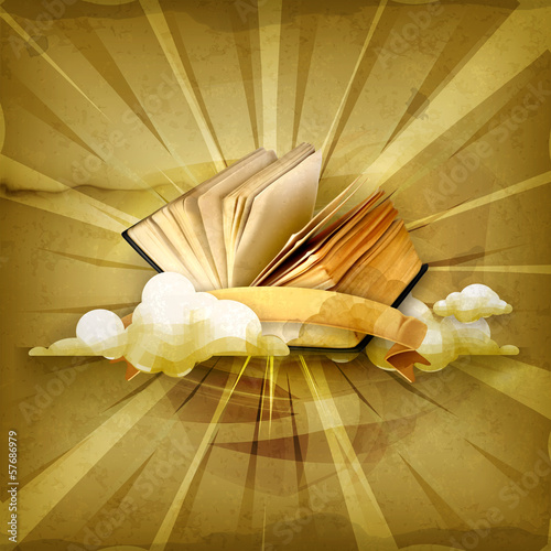 Open book, old style background