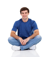 cute man sitting on white background
