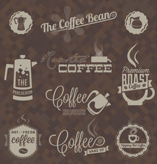 Vector Set: Retro Coffee Shop Labels and Symbols