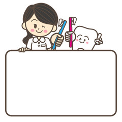 歯科衛生士と歯のキャラクター ホワイトボード