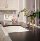 Sink with flower arrangement in luxury home