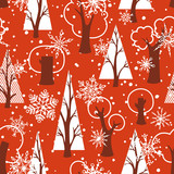 Seamless red Christmas pattern