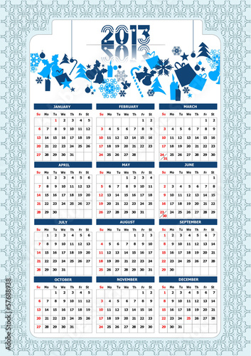 2013 calendar with Christmas images. Vector illustration