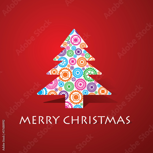 Group of gears make a christmas tree stock vector