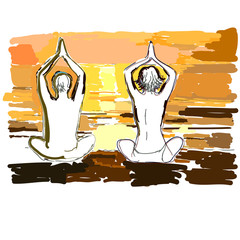 Silhouettes of young couple doing yoga.