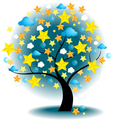 Tree of stars (vector)