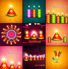 Beautiful decoration Happy Diwali diya shiny festival crackers c