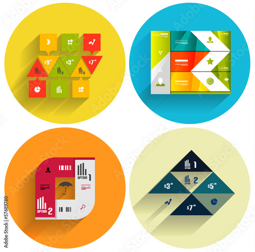 Geometric flat templates icon set