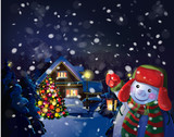Vector snowman holding  lantern on Christmas scene background.
