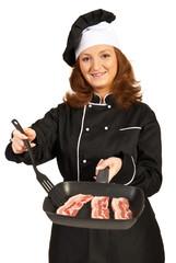 Chef woman prepare meat