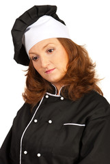 Sad thinking chef woman